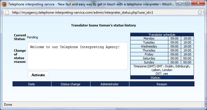 Interpreter_change status